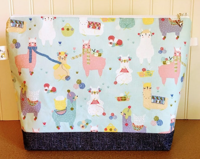Featured listing image: Llamas Knitting Scarves Knitting Project Bag - Large / Sweater Size