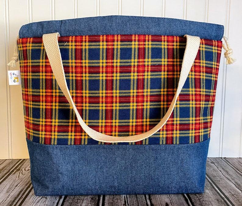 Drawstring Knitting Project Bag Large Knitting Bag Sweater image 0