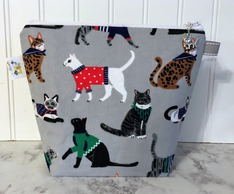 Small Knitting Bag Sock Project Bag Project Bag Zipper Cat image 0