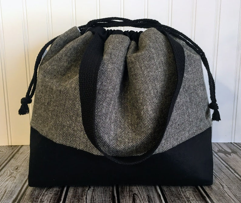 Drawstring Knitting Bag Large Knitting Project Bag Sweater image 0