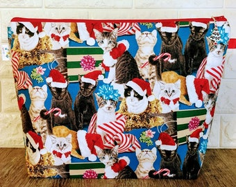Cat Christmas Knitting Project Bag