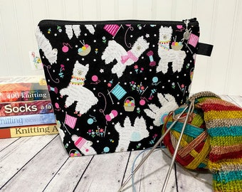 Knitting Project Bag, Zippered Project Bag, Sock Knitting Bag, Wedge Bag, Knitting Bag, Llama Bag, Knitting Project Bag, Alpaca Bag