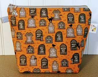 Sock Project Size Halloween Knitting Bag