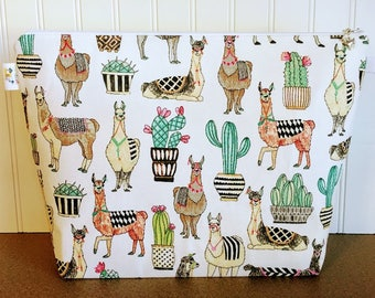 Llama Knitting Project Bag, Knitting Tote Bag, Large Knitting Bag, Project Bag, Zippered Wedge Project Bag, Crochet Project Bag