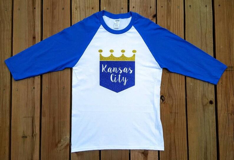 bcad21e4 Kansas City Royals Glitter Raglan Baseball Tee Royals | Etsy
