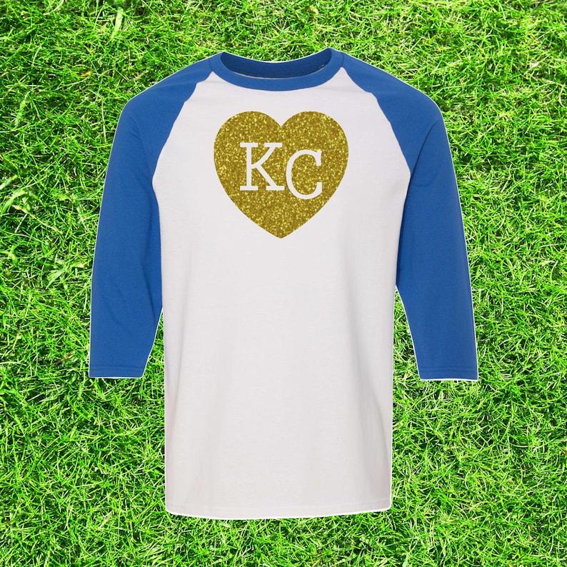 sports shoes 6a798 78827 Kansas City Royals Gold or Royal Blue Glitter KC Heart Raglan 3/4 Quarter  Sleeve T-Shirt