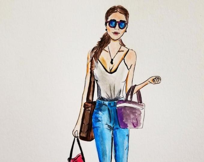 Fashion Illustration print, canvas print, brunette,fashion sketch, fashion illustration, art decor, home decor, illustration
