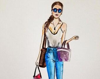 Fashion Illustration print, brunette,fashion sketch, fashion illustration, art decor, home decor, illustration
