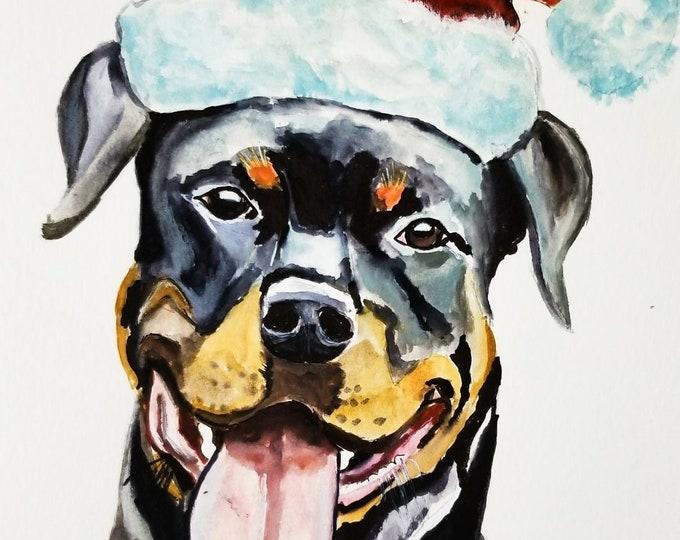 Rottweiler art, Rottweiler Print, Rottweiler painting, Christmas art, dog art, dog painting, Rottweiler wall art, Rottweiler illustration