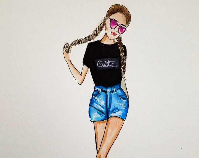 fashion Illustration ,fashion canvas print, fall fashion illustration, decorative fashion illustration, autumn illustration