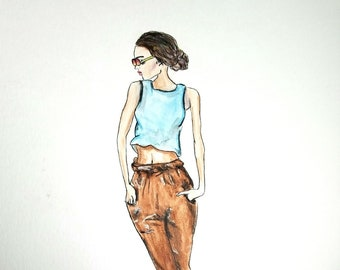 fashion illustration with text, fashion print, fashion, fall fashion poster, fashion wall art, brown hair girl, office fashion