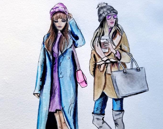 Fashion Illustration, canvas print, Fashion poster, fashion wall decor, Girly wall art, home decor, office wall art, fashion wall art