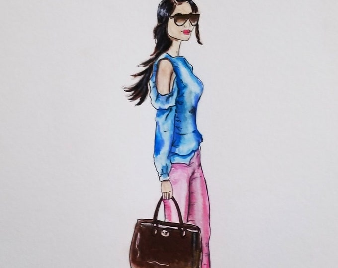 Fashion illustration, fashion canvas print, purse illustration, decorative fashion illustration, girly fashion illustration, fashion poster