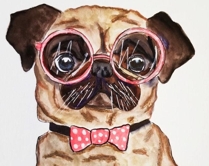 pug art, pug print, quirky pug art print, dog painting, pug decor, pug gifts for her, quirky pug gifts, dog art print, pug life, cute pug