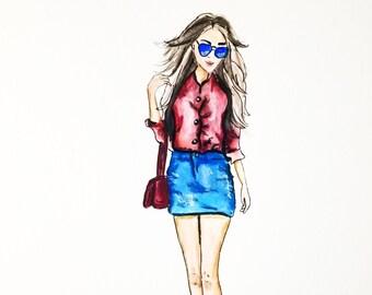 Fashion illustration, bedroom decor, office decor, modern wall art, office wall art, gift for her, fine art print, fashion wall art