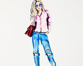 Fashion Illustration, fashion poster, wall art, office illustration, chic office print, fashion sketch, art decor, home decor, illustration
