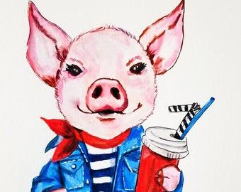 Framed Pig canvas, Pig Painting, Pig Art, Pig Wall Art, Pig Decor, Cute Pig, Pig Artwork, Pig Lover Gift, Pink Pig, Farm Animal Art