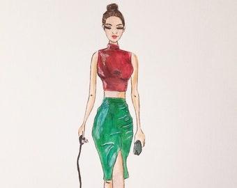 Fashion illustration art, fashion decor art, modern  fashion wall art, fashion art, fashion gift for her, fashion print, fashion painting