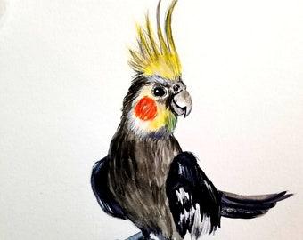 cockatiel painting, cockatiel art, bird print, cockatiel illustration, cockatiel print, cockatiel wall art, bird portrait art
