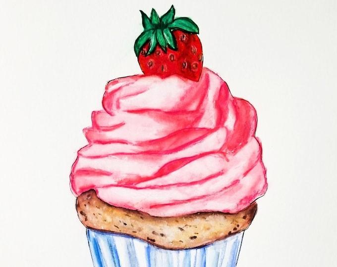 Cupcake art, pink cupcake Art Print, Cupcake painting, cupcake Poster, cupcake Illustration, Food Illustration, cupcake Wall Art