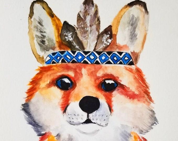Fox art, Fox painting, Fox Art, Fox Illustration, Red Fox Portrait, Cute Animal Artwork, Animal Watercolor, Whimsical fox, Fox Wall Art
