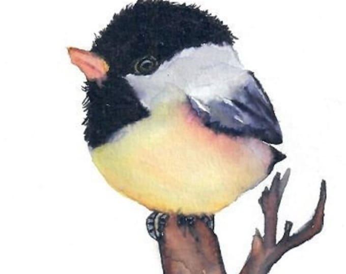 Chickadee art, Chickadee Painting, Chickadee Print, Chickadee Wall Art, Chickadee Illustration, Chickadee canvas, Bird Print, Bird Art
