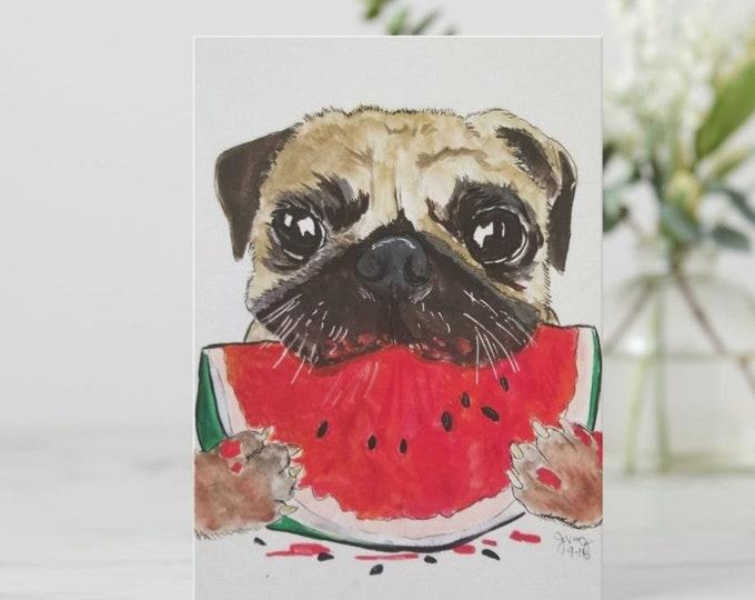 Pug greeting card, Pug birthday card, Pug blank greeting card, Cute pug card, blank pug card, Hand drawn pug card, pug notecard