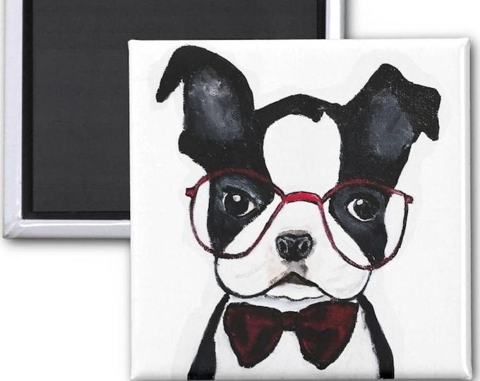 Magnets, Boston Terrier Magnets, Boston Terrier Refrigerator Magnet, Dog Fridge Magnets, Boston Terrier art, Boston Terrier Painting