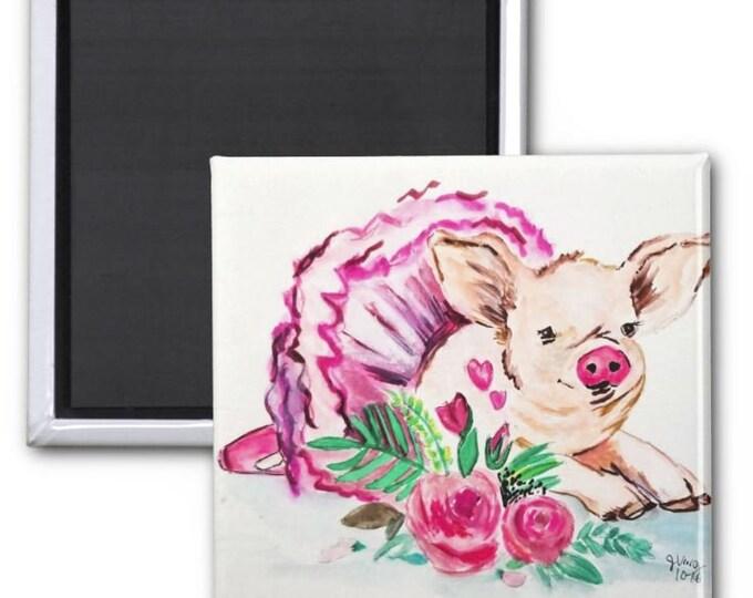 Magnets, Pig Art Magnet, Pig Gift, Fridge Magnet, Pig art, Farm Animal Magnet, Pig Painting, Fridge Decor, Pink Pig Magnet, Piggy Magnet