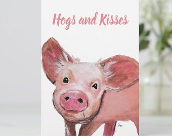 greeting card, Pig Birthday Card, Pig Card, Pig Thank You Card, Pig Christmas Card, Cute Pig Greeting Card, Pig Lover Card
