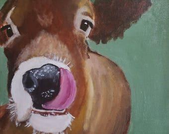 Farm Animal Print, Cow Portrait, Farm Art, Cow Lover Gift, Cow Illustration, Cow Wall Art Print, Art Print Cow, Cow Drawing, Brown Cow, art