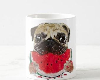 mugs, Pug Mug, Pug art, Pug lover gift, Pug Coffee Mug, Pet Mug, Dog Lover Mug, Pug Painting, Dog Mug, Pug Illustration, Pug Drawing