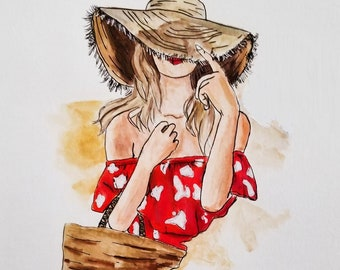 Illustration girl, printed illustration, patterned illustration, decorative illustration, girly illustration, art girl blonde hair