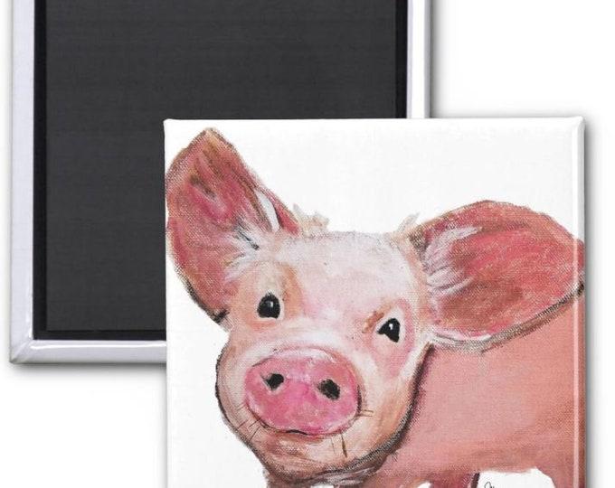 magnets, pig magnets, pig fridge magnet, pig decor, pig art, pig painting, baby animal art, pig painting, pig illustration