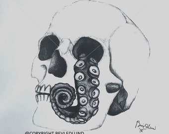 "Realistic Skull Head, Graphite Pencil, Portrait Drawing, 11""X 17,"" Halloween, octopus, tentacle"