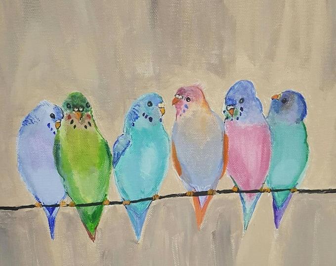 budgie art, Budgie wall art, budgie illustration, budgie gift, budgie painting. tropical bird art, bird wall decor, budgie canvas print