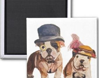 Magnets, English Bulldog magnet, bulldog fridge magnet, bulldog magnet, bulldog art, bulldog painting, bulldog illustration