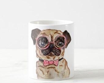 mugs, Pug Mug, Funny pug mug, Pug Coffee Mug, Pug Art, Dog mugs, Pug Painting, Pug illustration, Pug Drawing, Dog coffee mugs, pet art