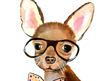 Chihuahua, Dog Canvas, Wall Art Prints, Print Gift for him, Gift for her, Wall decor, Pet portrait, Illustration
