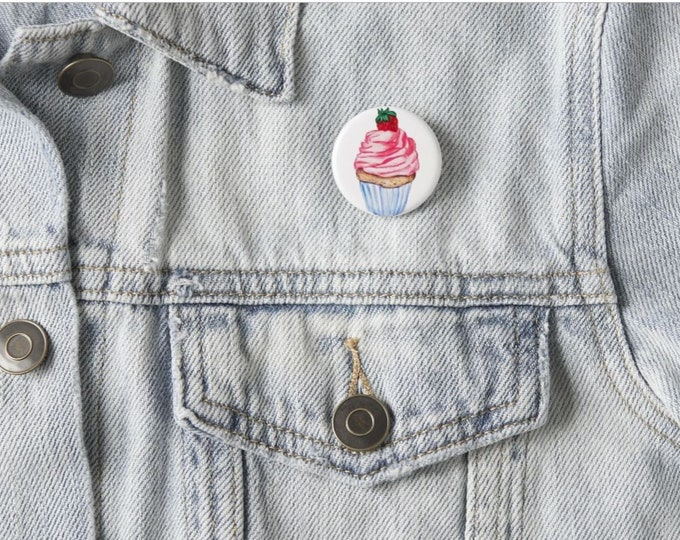 buttons, cupcake button, Cupcake pinback button, cupcake flair, Cupcake pin, Cupcake Pinback, Cupcake Badge, cupcake art, cupcake painting