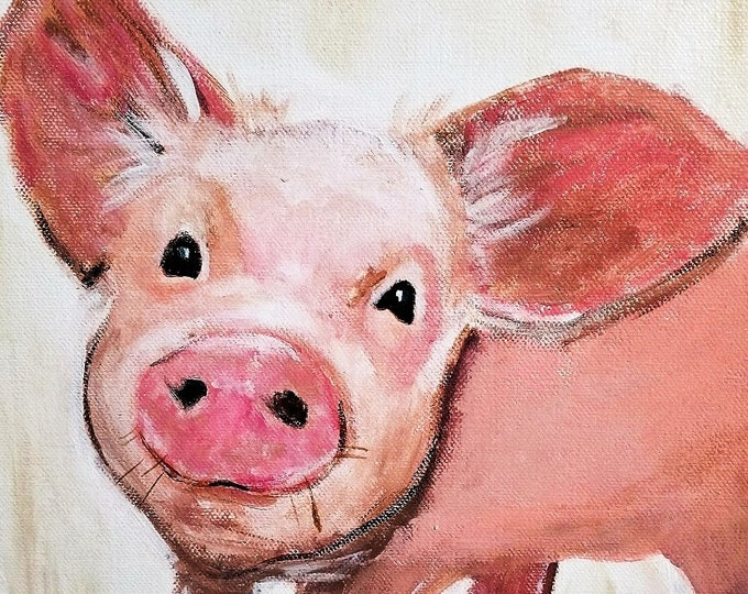 Pig art, pig canvas, Pig print, Pig Painting, Pig Gift, Pig Art, Cute Happy Pig, Baby Animal Print, Farm Animal, Piggy, Piglet
