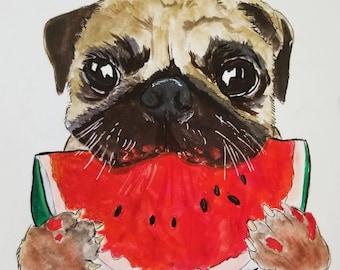 Framed Pug Dog Print, Pug Dog Art, Pug Dog Painting, Pug Dog Wall Art, Watercolor Art, Pet Print, Dog Art, Dog Print