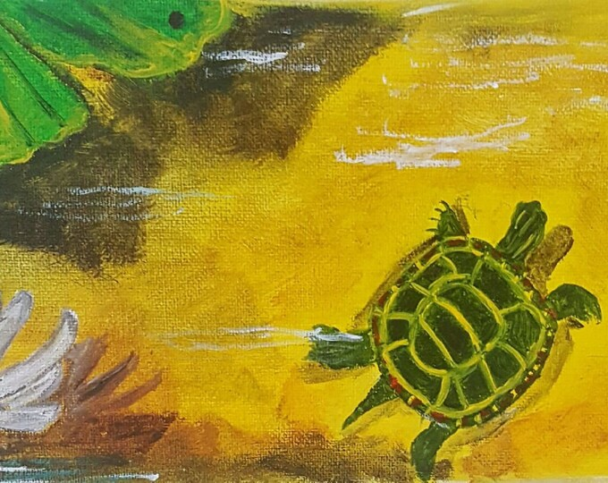 Turtle Basking with Water Lilies print, red eared slider, watercolor, art print, turtle, pond, lake, art