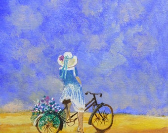 Bicycle art, bicycle art print, bicycle wall art, bicycle artwork, unique bicycle art, bike girl, bicycle illustration, art