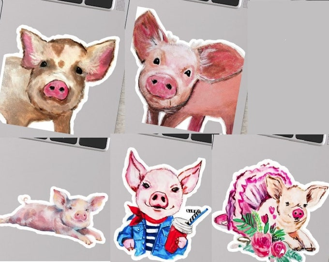PIGLET STICKERs, Pig Sticker Set, Cute Pick Stickers, Pig art, Farm animal Stickers, Baby Animal Stickers, Pig Decor, Pig Lover art