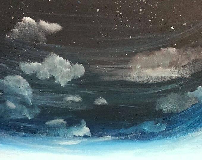 Night Sky art, Night Sky painting, Night sky illustration, Night sky canvas print, Celestial Art, Starry Night art, Galaxy painting