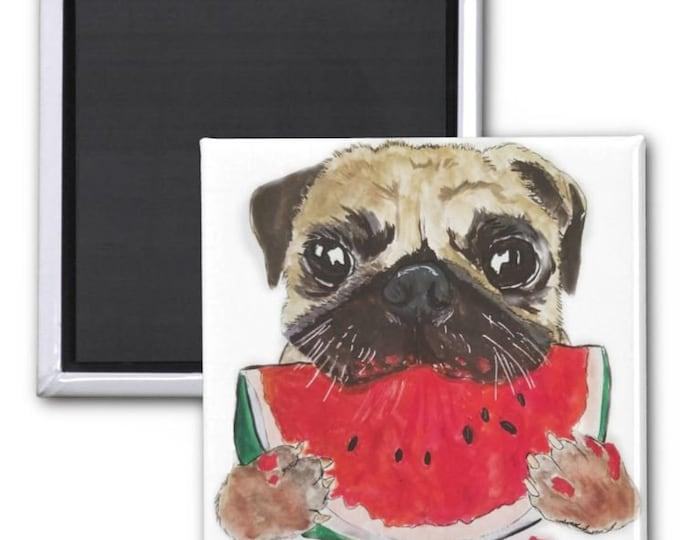 magnets, Pug Magnet, fridge magnet, Funny pug Magnet, pig Illustration, Pug art, Pug Painting, Cute Pug magnet, dog magnet