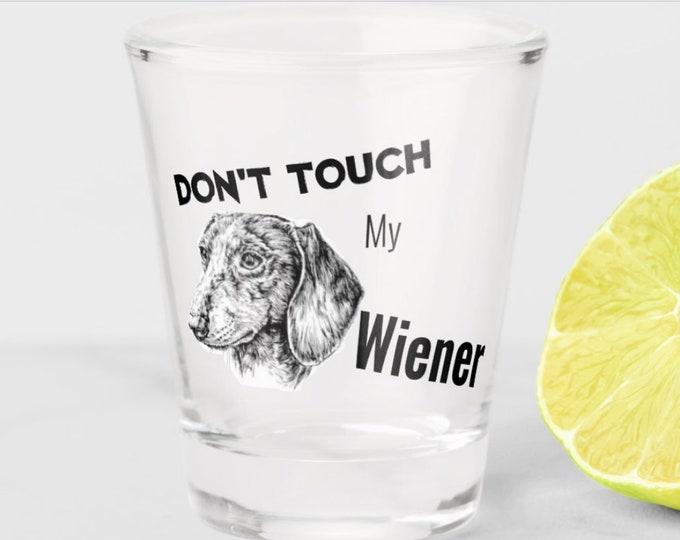 Dachshund, Wiener Dog Gifts Printed Art Shot Glass, Funny Sausage Dog Meme Shot glass, Dachshund Lover Art, Dachshund lover gift