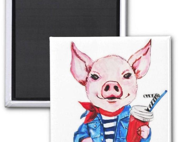magnets, Pig fridge magnet, pig art, Cute pig magnet, refrigerator magnet, farm animal magnet, piglet magnet, pig painting, farm animal art