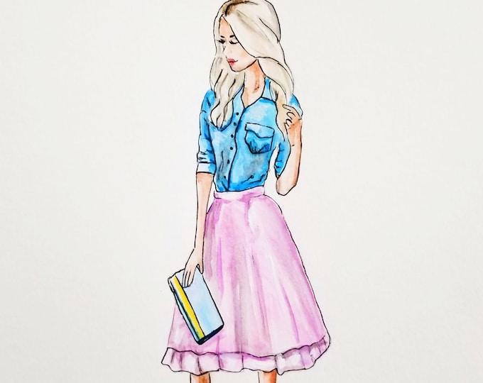 Fashion illustration canvas print, printed illustration, blonde illustration, decorative illustration, girly illustration, fashion poster